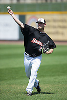 Tyler Barnette (44) of the Birmingham Barons throws in the outfield prior to the game against the Tennessee Smokies at Regions Field on May 3, 2015 in Birmingham, Alabama.  The Smokies defeated the Barons 3-0.  (Brian Westerholt/Four Seam Images)