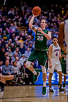 19 January 2019: Binghamton University Bearcat Forward Caleb Stewart, a Senior from Glenville, NY, in second half Men's Basketball action against the University of Vermont Catamounts at Patrick Gymnasium in Burlington, Vermont. Stewart scored 14 points and five rebounds before fouling out as the Bearcats fell to the Catamounts 78-50 in America East conference play. Mandatory Credit: Ed Wolfstein Photo *** RAW (NEF) Image File Available ***
