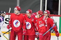 22nd May 2021, Riga Olympic Sports Centre Latvia; 2021 IIHF Ice hockey, Eishockey World Championship, Great Britain versus Russia;  Russia open the scores and 11 Dmitri Voronkov Russia, 71 Anton Burdasov Russia, 27 Igor Ozhiganov Russia and 8 Ivan Morozov Russia celebrate