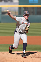 Kyle Luckham (27) of the Cal State Fullerton Titans pitches against the UCLA Bruins at Jackie Robinson Stadium on March 6, 2021 in Los Angeles, California. UCLA defeated Cal State Fullerton, 6-1. (Larry Goren/Four Seam Images)