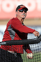 Visalia Rawhide pitching coach Doug Drabek pitches batting practice before a game against the High Desert Mavericks at Stater Bros. Stadium on May 15, 2012 in Adelanto,California. (Larry Goren/Four Seam Images)