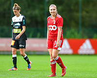 Davinia Vanmechelen (10) of Standard looking happy during a female soccer game between Standard Femina de Liege and Eendracht Aalst dames on the fourth matchday in the 2021 - 2022 season of the Belgian Scooore Womens Super League , Saturday 11 th of September 2021  in Angleur , Belgium . PHOTO SPORTPIX | BERNARD GILLET