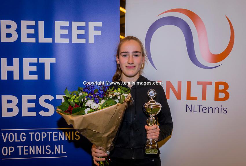 Wateringen, The Netherlands, December 8,  2019, De Rhijenhof , NOJK juniors 14 and18 years, Finals 14 years: Runner up girls 14 years Annelin Bakker (NED)<br /> Photo: www.tennisimages.com/Henk Koster