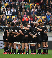 11th October 2020; Sky Stadium, Wellington, New Zealand;   All Blacks huddle ahead of kickof at the Bledisloe Cup rugby union test match between the New Zealand All Blacks and Australia Wallabies.
