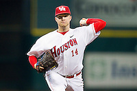 Houston Cougars starting pitcher Jordan Lewis #14 in action against the Arkansas Razorbacks at Minute Maid Park on March 3, 2012 in Houston, Texas.  The Cougars defeated the Razorbacks 4-1.  (Brian Westerholt/Four Seam Images)