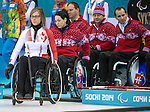Sochi, RUSSIA - Mar 13 2014 -  Sonja Gaudet as Canada takes on Slovakia in round robin play at the 2014 Paralympic Winter Games in Sochi, Russia.  (Photo: Matthew Murnaghan/Canadian Paralympic Committee)