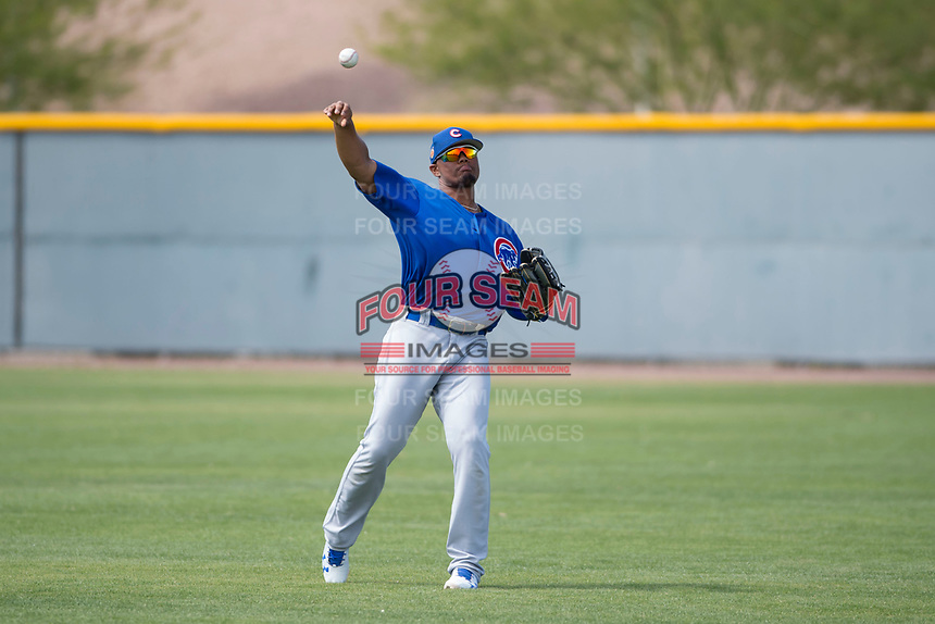 Chicago Cubs right fielder Eddy Martinez (25) during a Minor League Spring Training game against the Colorado Rockies at Sloan Park on March 27, 2018 in Mesa, Arizona. (Zachary Lucy/Four Seam Images)