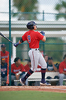 GCL Twins Keoni Cavaco (9) at bat during a Gulf Coast League game against the GCL Pirates on August 6, 2019 at Pirate City in Bradenton, Florida.  GCL Twins defeated the GCL Pirates 1-0 in the second game of a doubleheader.  (Mike Janes/Four Seam Images)