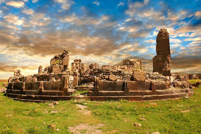 King Gagik's church of St Gregory, constructed between the years 1001 and 1005, Ani archaelogical site on the Ancient Silk Road , Kars , Anatolia, Turkey