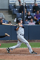 Taylor Ratliff  #4 of the Hillsboro Hops bats against the Vancouver Canadians at Nat Bailey Stadium on July 24, 2014 in Vancouver, British Columbia. Vancouver defeated Hillsboro, 5-2. (Larry Goren/Four Seam Images)