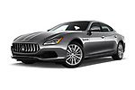 Stock pictures of low aggressive front three quarter view of a 2017 Maserati Quattroporte S 4 Door Sedan