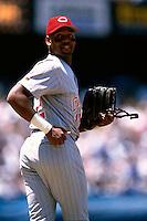 Willie Greene of the Cincinnati Reds participates in a Major League Baseball game at Dodger Stadium during the 1998 season in Los Angeles, California. (Larry Goren/Four Seam Images)