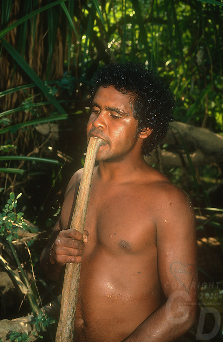 Tribal Aboriginal killing a file snake the traditional way by putting the head of the snake in its mouth and then jerking it breaking the neck  Arnhem land, Australia