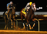 18 September 10:  Miss Red Delicious (2) and jockey Travis Dunkelberger were secong to Miss Dolce and jockey Luis Perez (4) until a disqualification gave them a win in the Pink Ribbon Stakes on Charles Town Oaks Night at Charles Town Race and Slots in West Virginia.