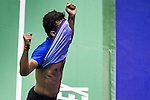 Sameer Verma of India celebrates after defeating Jan O Jorgensen of Denmark during their Men's Singles Semi-Final of YONEX-SUNRISE Hong Kong Open Badminton Championships 2016 at the Hong Kong Coliseum on 26 November 2016 in Hong Kong, China. Photo by Marcio Rodrigo Machado / Power Sport Images