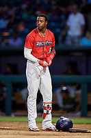 Jacksonville Jumbo Shrimp center fielder Monte Harrison (3) during a game against the Biloxi Shuckers on June 8, 2018 at Baseball Grounds of Jacksonville in Jacksonville, Florida.  Biloxi defeated Jacksonville 5-3.  (Mike Janes/Four Seam Images)