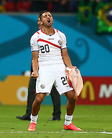 Diego Calvo of Costa Rica celebrates after winning the penalty shoot out