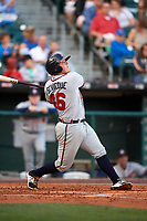 Gwinnett Braves catcher Kade Scivicque (46) at bat during a game against the Buffalo Bisons on August 19, 2017 at Coca-Cola Field in Buffalo, New York.  Gwinnett defeated Buffalo 1-0.  (Mike Janes/Four Seam Images)