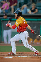 Jared Walsh (18) of the Salt Lake Bees at bat against the Oklahoma City Dodgers at Smith's Ballpark on August 1, 2019 in Salt Lake City, Utah. The Bees defeated the Dodgers 14-4. (Stephen Smith/Four Seam Images)
