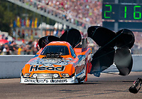 Aug 18, 2019; Brainerd, MN, USA; NHRA funny car driver Jonnie Lindberg during the Lucas Oil Nationals at Brainerd International Raceway. Mandatory Credit: Mark J. Rebilas-USA TODAY Sports