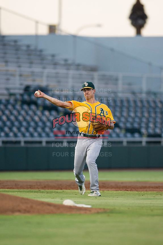 AZL Athletics third baseman Jake Lumley (31) on defense against the AZL Giants on August 5, 2017 at Scottsdale Stadium in Scottsdale, Arizona. AZL Athletics defeated the AZL Giants 2-1. (Zachary Lucy/Four Seam Images)