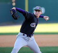 Pitcher Hunter Brister (32) of the Western Carolina Catamounts in a game against the Cincinnati Bearcats on Sunday, February 24, 2013, at Fluor Field in Greenville, South Carolina. Cincinnati won in 10 innings, 7-6. (Tom Priddy/Four Seam Images)