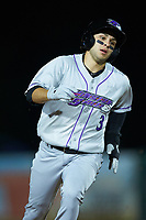 Nick Madrigal (3) of the Winston-Salem Dash hustles towards third base against the Myrtle Beach Pelicans at TicketReturn.com Field on May 16, 2019 in Myrtle Beach, South Carolina. The Dash defeated the Pelicans 6-0. (Brian Westerholt/Four Seam Images)