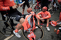Team CCC post-stage roadside prep before the descent from the (finish) mountain towards the team buses <br /> <br /> Stage 20: Arenas de San Pedro to Plataforma de Gredos (190km)<br /> La Vuelta 2019<br /> <br /> ©kramon
