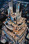 Construction tops out on the Bank of America World Headquarters in Charlotte. Photographed from the arm of the crane at dawn, it was the tallest freestanding structure in the Southeast. .The building was designed by noted Argentinian architect Cesar Pelli.