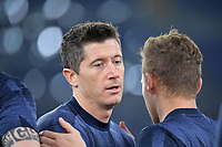 Robert Lewandowski of FC Bayern Munchen warms up during the Champions League round of 16 football match between SS Lazio and Bayern Munchen at stadio Olimpico in Rome (Italy), February, 23th, 2021. Photo Andrea Staccioli / Insidefoto