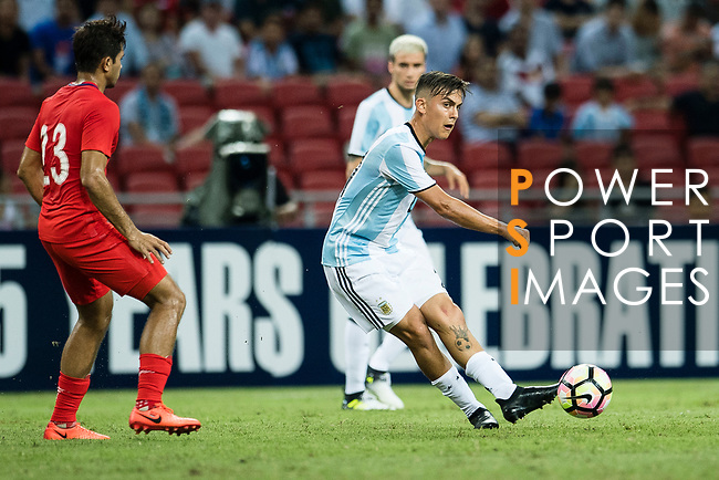 Paulo Dybala of Argentina (R) in action during the International Test match between Argentina and Singapore at National Stadium on June 13, 2017 in Singapore. Photo by Marcio Rodrigo Machado / Power Sport Images