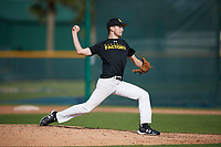 Jordan Mize (18), from Clintonville, West Virginia, while playing for the Pirates during the Baseball Factory Pirate City Christmas Camp & Tournament on December 29, 2017 at Pirate City in Bradenton, Florida.  (Mike Janes/Four Seam Images)