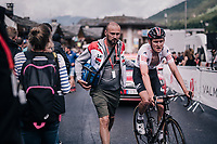 Tiesj Benoot (BEL/Lotto-Soudal) escorted out of the fiish zone<br /> <br /> Stage 5: Grenoble > Valmorel (130km)<br /> 70th Critérium du Dauphiné 2018 (2.UWT)