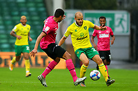 3rd October 2020; Carrow Road, Norwich, Norfolk, England, English Football League Championship Football, Norwich versus Derby; Teemu Pukki of Norwich City under pressure from Curtis Davies of Derby County