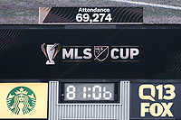 SEATTLE, WA - NOVEMBER 10: The announced attendance of 69,274 set a new sporting event record at the stadium during a game between Toronto FC and Seattle Sounders FC at CenturyLink Field on November 10, 2019 in Seattle, Washington.