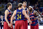 FC Barcelona Lassa's Petteri Koponen, Brad Oleson, Victor Claver and Tyrese Rice during Liga Endesa match between Real Madrid and FC Barcelona Lassa at Wizink Center in Madrid, Spain. March 12, 2017. (ALTERPHOTOS/BorjaB.Hojas)