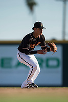 Modesto Nuts shortstop Bryson Brigman (8) attempts to field a ground ball during a California League game against the San Jose Giants at John Thurman Field on May 9, 2018 in Modesto, California. San Jose defeated Modesto 9-5. (Zachary Lucy/Four Seam Images)