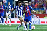 Carlos Vigaray of Club Deportivo Alaves competes for the ball with Leo Messi of FC Barcelona during the match of  Copa del Rey (King's Cup) Final between Deportivo Alaves and FC Barcelona at Vicente Calderon Stadium in Madrid, May 27, 2017. Spain.. (ALTERPHOTOS/Rodrigo Jimenez)