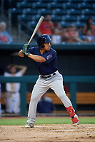 Mobile BayBears Jahmai Jones (15) at bat during a Southern League game against the Jacksonville Jumbo Shrimp on May 28, 2019 at Baseball Grounds of Jacksonville in Jacksonville, Florida.  Mobile defeated Jacksonville 2-1.  (Mike Janes/Four Seam Images)
