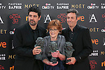 Director Cesc Gay poses with Best Film Goya award during 30th Goya Awards ceremony in Madrid, Spain. February 06, 2016. (ALTERPHOTOS/Victor Blanco)