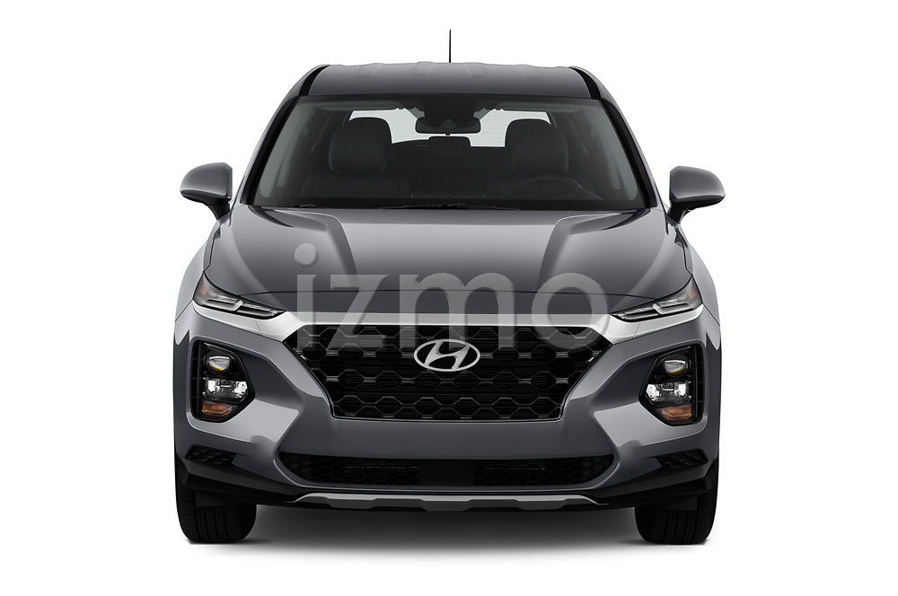 Car photography straight front view of a 2020 Hyundai Santa-FE SE 5 Door SUV Front View
