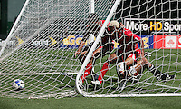 Blas Perez (left) and Nelson Barahona (right) run to retrieve the ball after they score. Guadeloupe defeated Panama 2-1 during the First Round of the 2009 CONCACAF Gold Cup at Oakland Coliseum in Oakland, California on July 4, 2009.