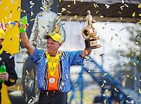 Sep 25, 2016; Madison, IL, USA; NHRA pro stock motorcycle rider Jerry Savoie celebrates after winning the Midwest Nationals at Gateway Motorsports Park. Mandatory Credit: Mark J. Rebilas-USA TODAY Sports