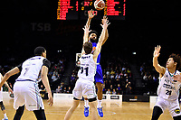 Dion Prewster of the Wellington Saints passes the ball during the NBL match between the Wellington Saints and the Auckland Huskies at TSB Bank Arena, Wellington, New Zealand on Friday 28 May 2021.<br /> Photo by Masanori Udagawa. <br /> www.photowellington.photoshelter.com