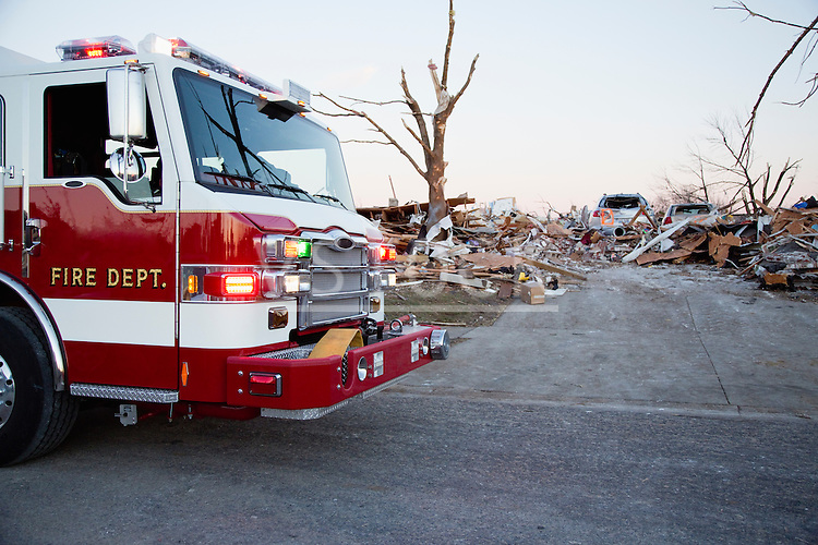 Emergency vehicles in town destroyed by tornado