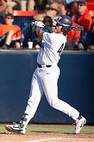 University of Washington Huskies Joe Wainhouse (44) follows through on his swing against the Cal State Fullerton Titans at Goodwin Field on June 09, 2018 in Fullerton, California. The Cal State Fullerton Titans defeated the University of Washington Huskies 5-2. (Donn Parris/Four Seam Images)