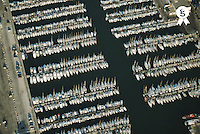 France, Marseille, la Pointe Rouge port, moored sailboats, aerial view (Licence this image exclusively with Getty: http://www.gettyimages.com/detail/200387961-001 )