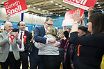 © Joel Goodman - 07973 332324 . 24/02/2017 . Stoke-on-Trent , UK . GARETH SNELL hugs wife SOPHIA SNELL as he is declared the winner at the count in the by-election for the constituency of Stoke-on-Trent Central , at Fenton Manor Sports Complex . Photo credit : Joel Goodman