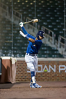AZL Brewers second baseman Francisco Thomas (9) in on the on-deck circle during a game against the AZL Cubs on August 6, 2017 at Sloan Park in Mesa, Arizona. AZL Cubs defeated the AZL Brewers 8-7. (Zachary Lucy/Four Seam Images)