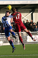 James Goode of Aveley and Ollie Muldoon of Chelmsford City during Aveley vs Chelmsford City, Buildbase FA Trophy Football at Parkside on 8th February 2020